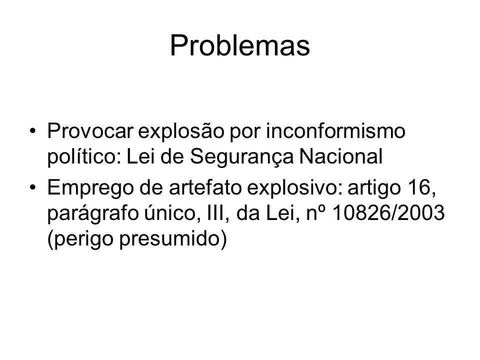 Problemas Provocar explosão por inconformismo político: Lei de Segurança Nacional.