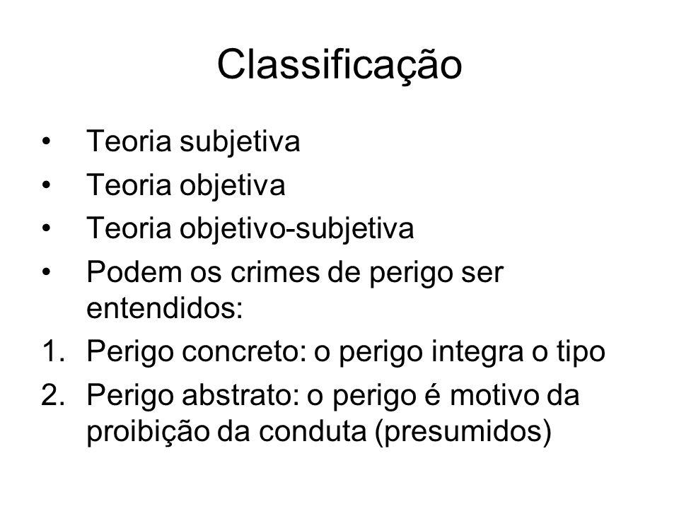 Classificação Teoria subjetiva Teoria objetiva