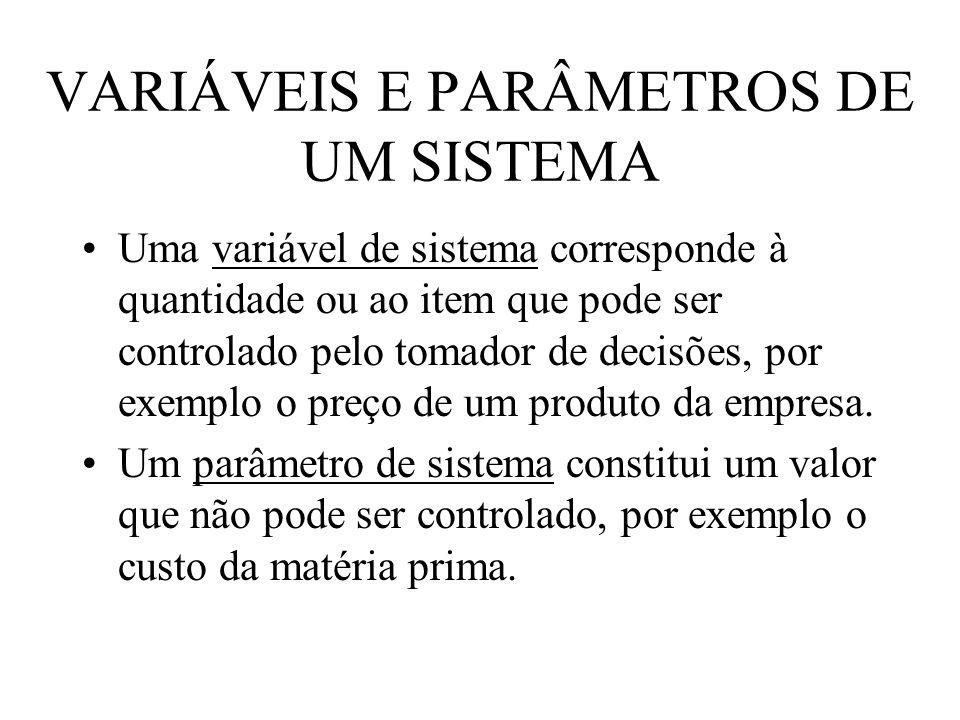 VARIÁVEIS E PARÂMETROS DE UM SISTEMA