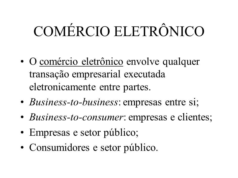 COMÉRCIO ELETRÔNICO O comércio eletrônico envolve qualquer transação empresarial executada eletronicamente entre partes.