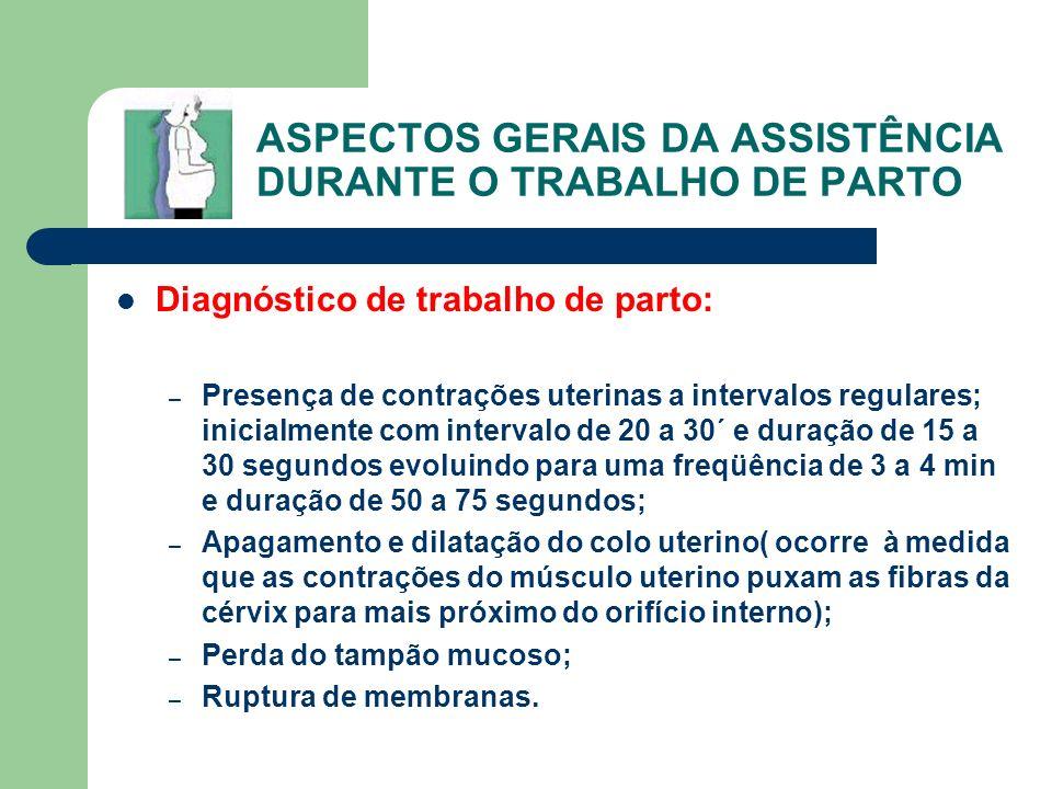 ASPECTOS GERAIS DA ASSISTÊNCIA DURANTE O TRABALHO DE PARTO
