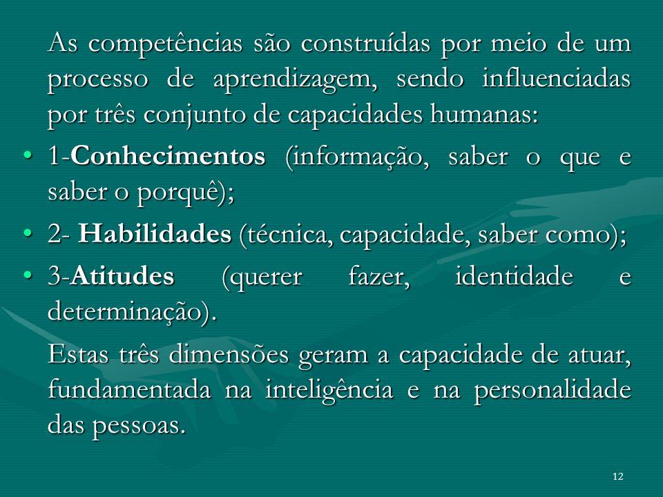 As competências são construídas por meio de um processo de aprendizagem, sendo influenciadas por três conjunto de capacidades humanas: