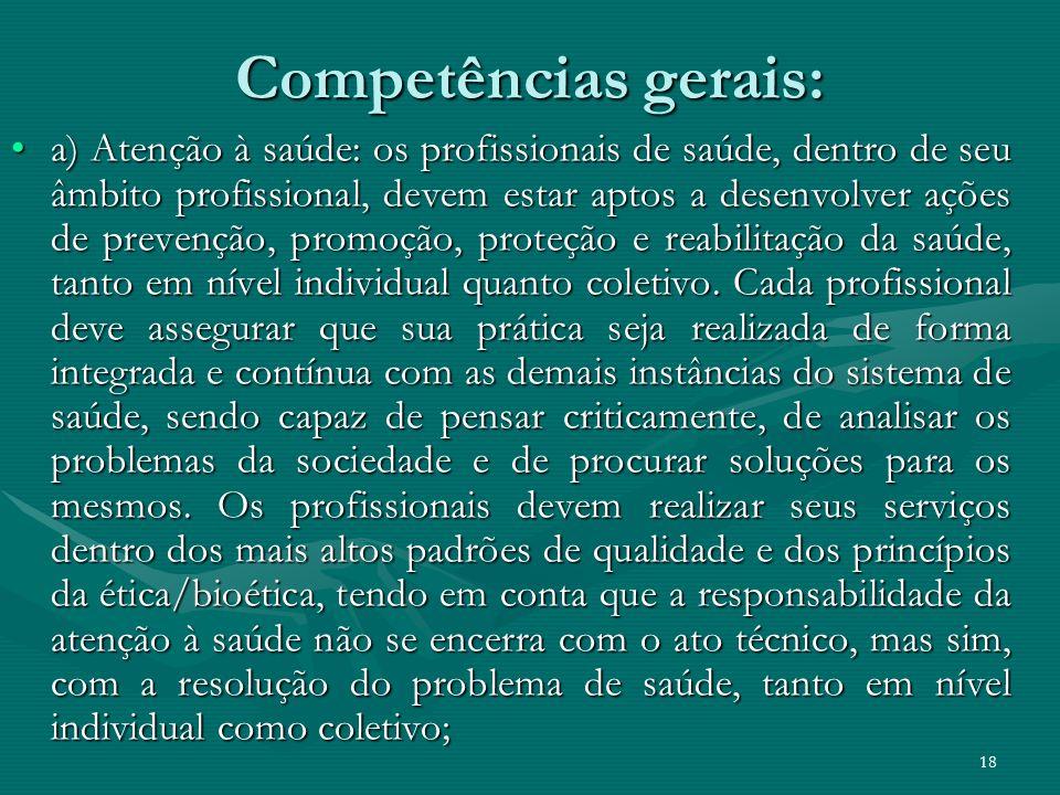 Competências gerais: