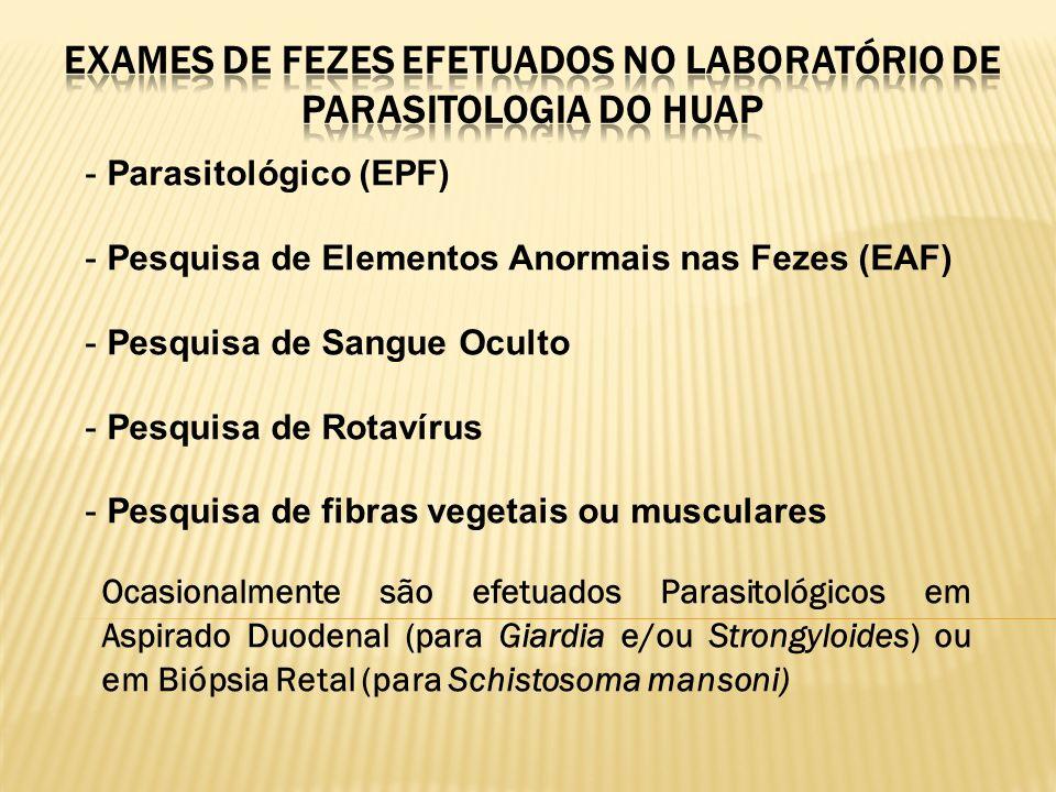 EXAMES DE FEZES EFETUADOS NO LABORATÓRIO DE PARASITOLOGIA DO HUAP