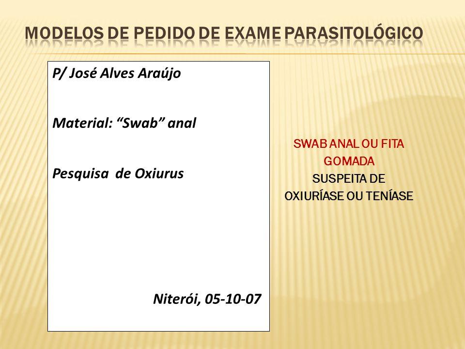 Modelos de pedido DE EXAME PARASITOLÓGICO
