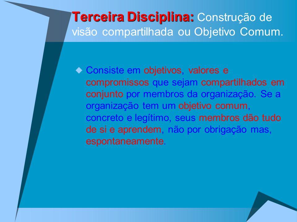 Terceira Disciplina: Construção de visão compartilhada ou Objetivo Comum.