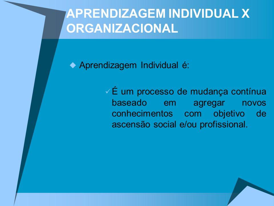 APRENDIZAGEM INDIVIDUAL X ORGANIZACIONAL