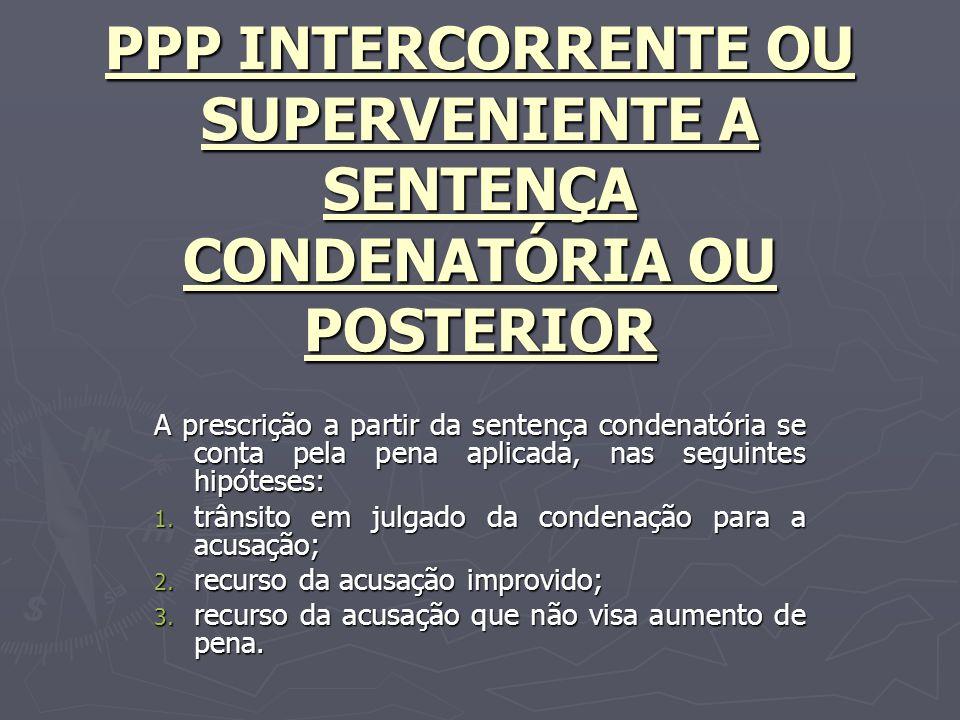 PPP INTERCORRENTE OU SUPERVENIENTE A SENTENÇA CONDENATÓRIA OU POSTERIOR