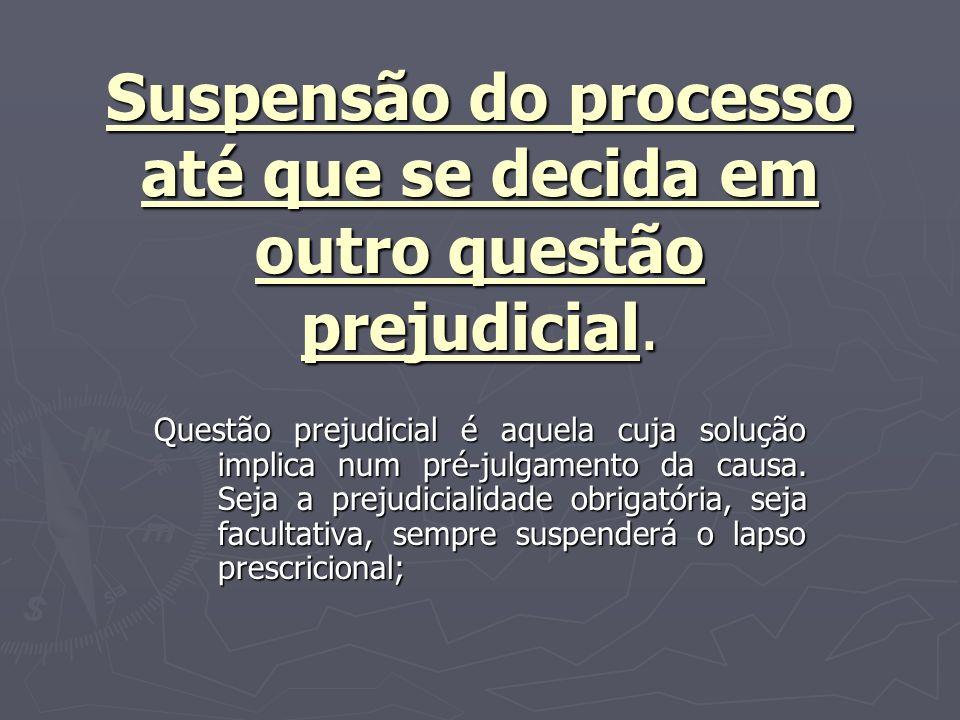 Suspensão do processo até que se decida em outro questão prejudicial.