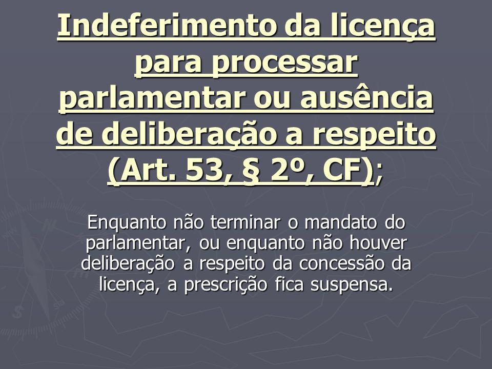 Indeferimento da licença para processar parlamentar ou ausência de deliberação a respeito (Art. 53, § 2º, CF);