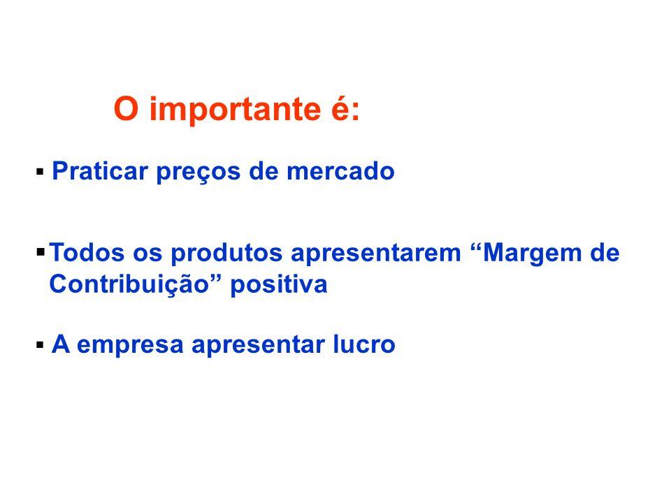O importante é: Praticar preços de mercado. Todos os produtos apresentarem Margem de Contribuição positiva.