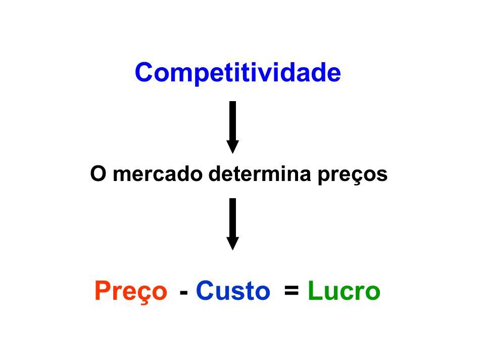 Competitividade O mercado determina preços Preço - Custo = Lucro