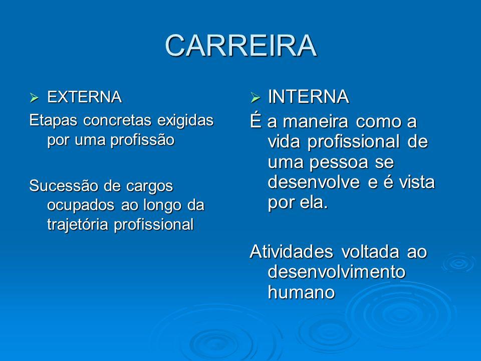 CARREIRAEXTERNA. Etapas concretas exigidas por uma profissão. Sucessão de cargos ocupados ao longo da trajetória profissional.