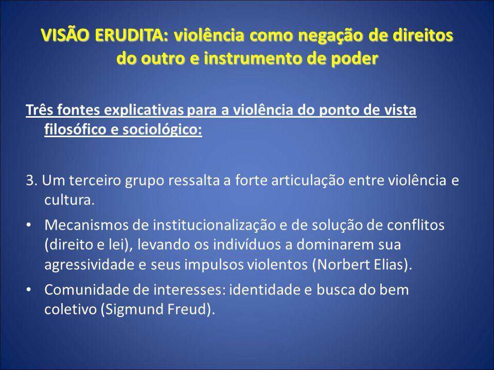 VISÃO ERUDITA: violência como negação de direitos do outro e instrumento de poder