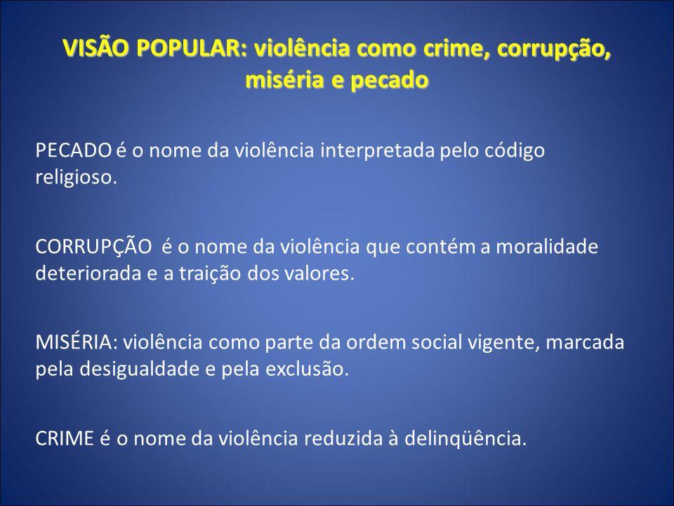 VISÃO POPULAR: violência como crime, corrupção, miséria e pecado