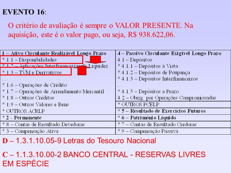 EVENTO 16:O critério de avaliação é sempre o VALOR PRESENTE. Na aquisição, este é o valor pago, ou seja, R$ 938.622,06.