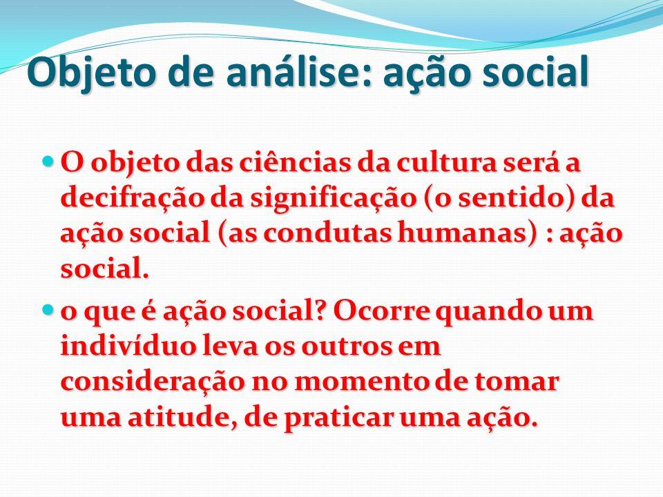 Objeto de análise: ação social