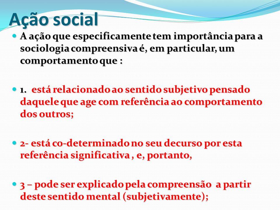 Ação social A ação que especificamente tem importância para a sociologia compreensiva é, em particular, um comportamento que :