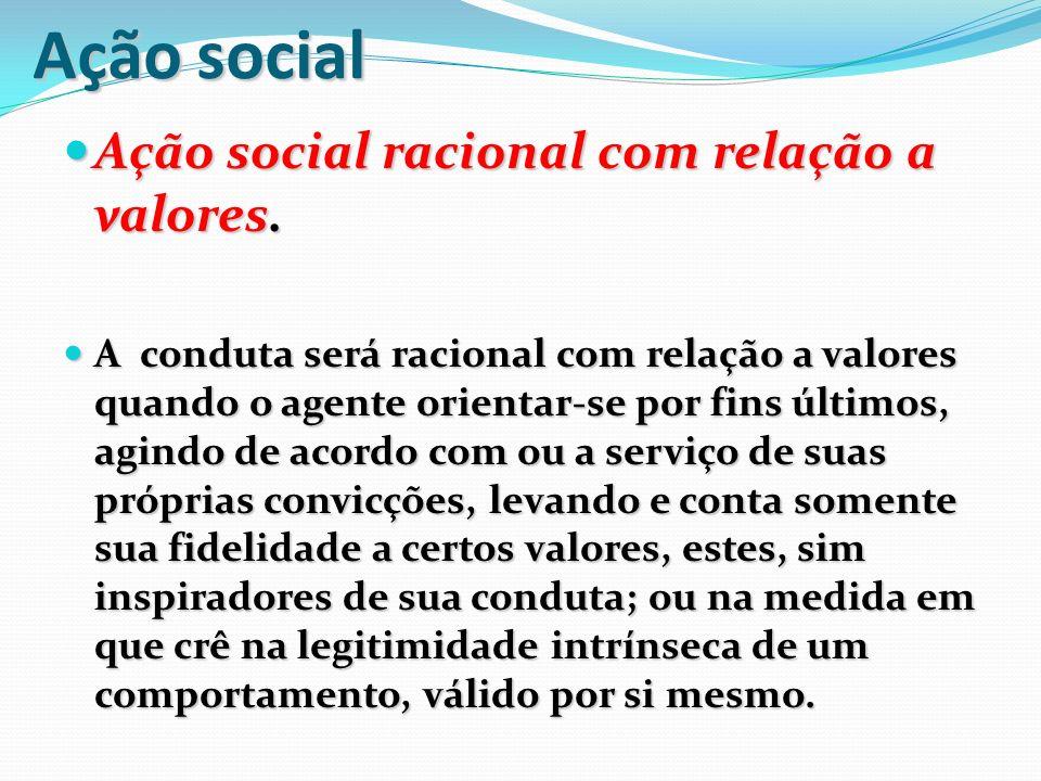 Ação social Ação social racional com relação a valores.