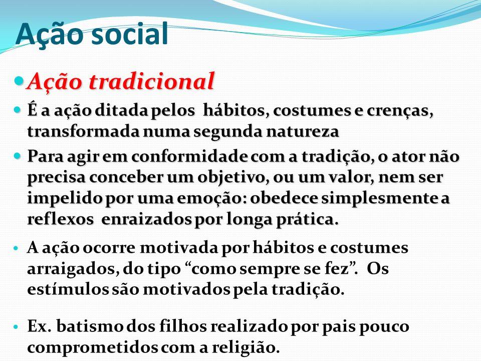 Ação social Ação tradicional
