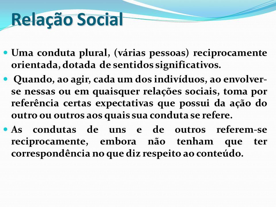 Relação Social Uma conduta plural, (várias pessoas) reciprocamente orientada, dotada de sentidos significativos.