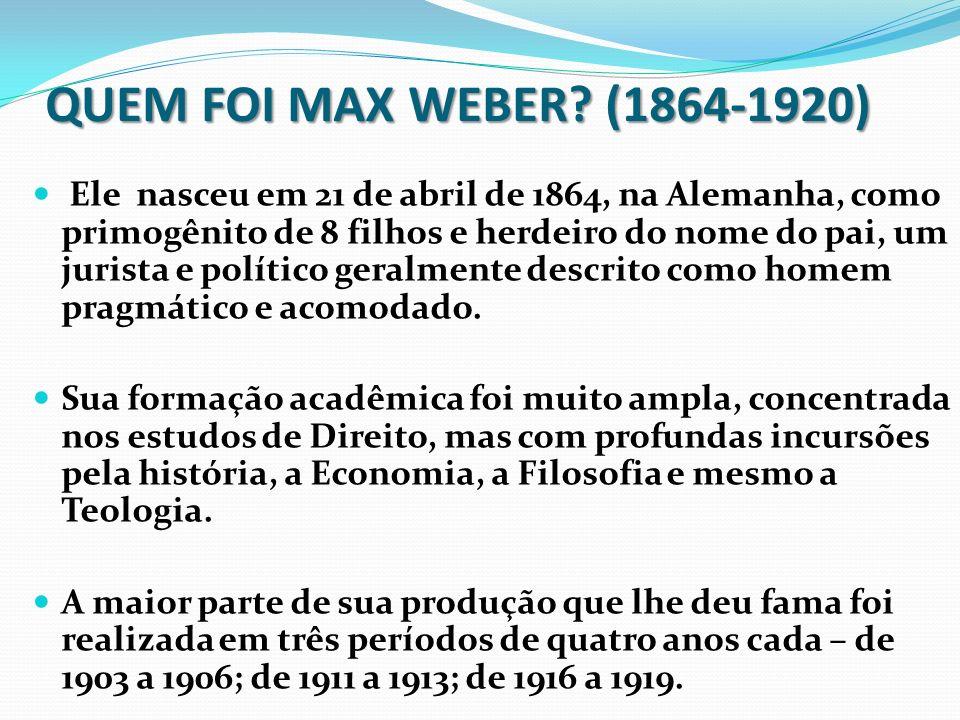 QUEM FOI MAX WEBER (1864-1920)