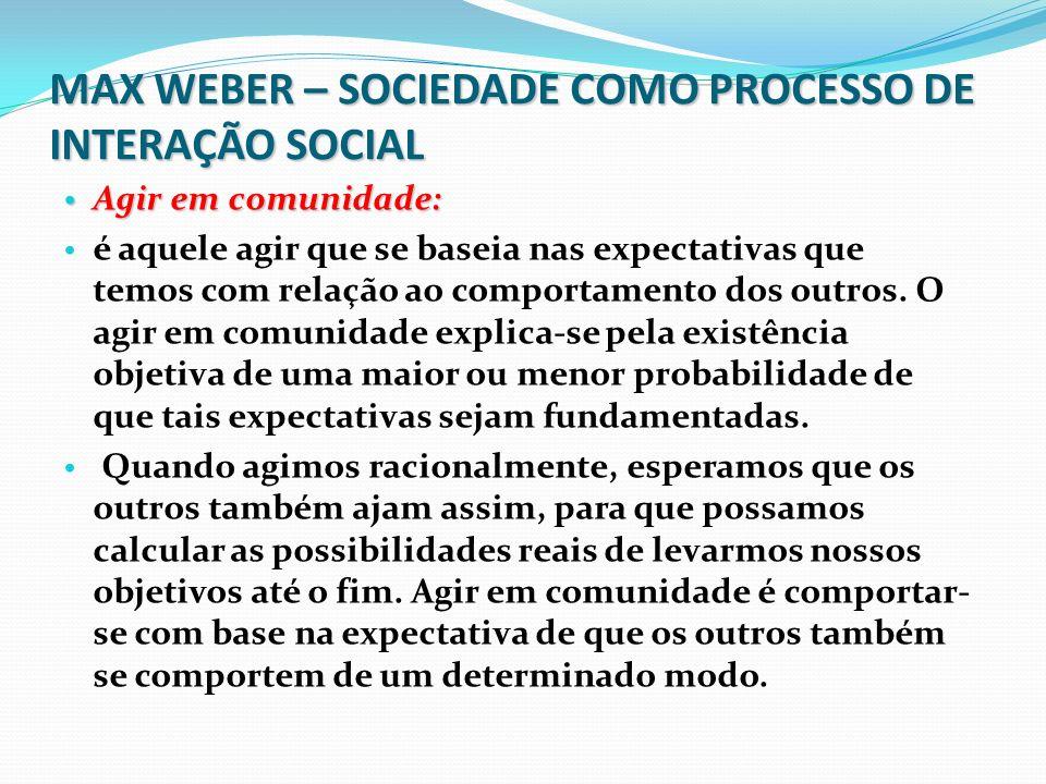 MAX WEBER – SOCIEDADE COMO PROCESSO DE INTERAÇÃO SOCIAL