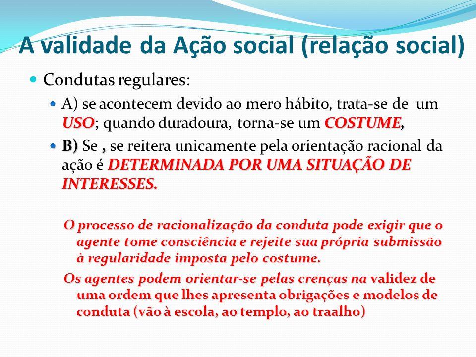 A validade da Ação social (relação social)
