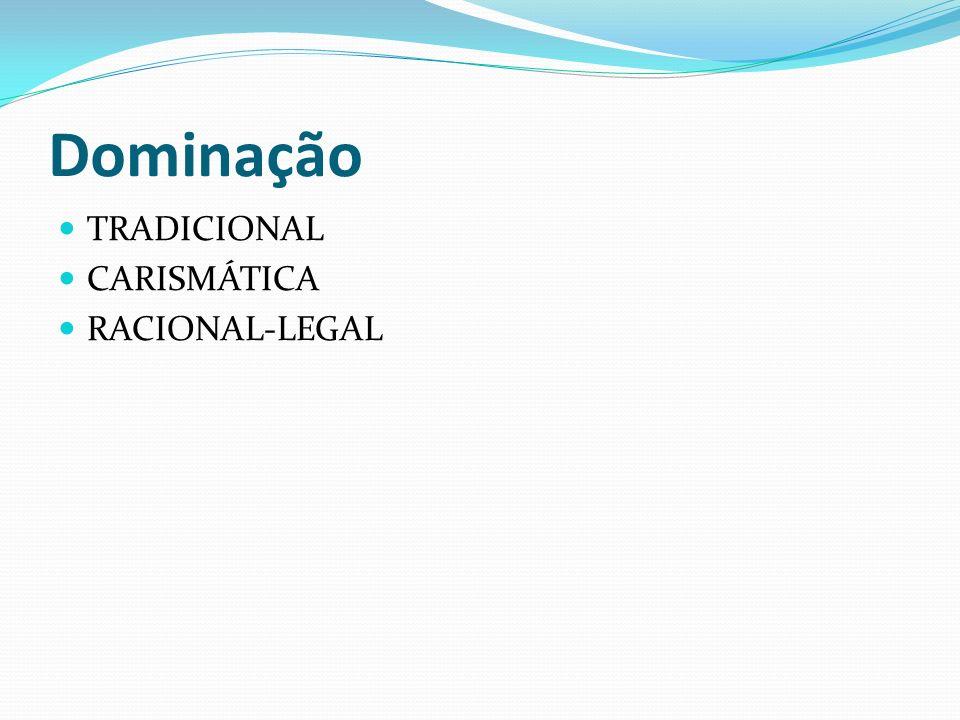 Dominação TRADICIONAL CARISMÁTICA RACIONAL-LEGAL
