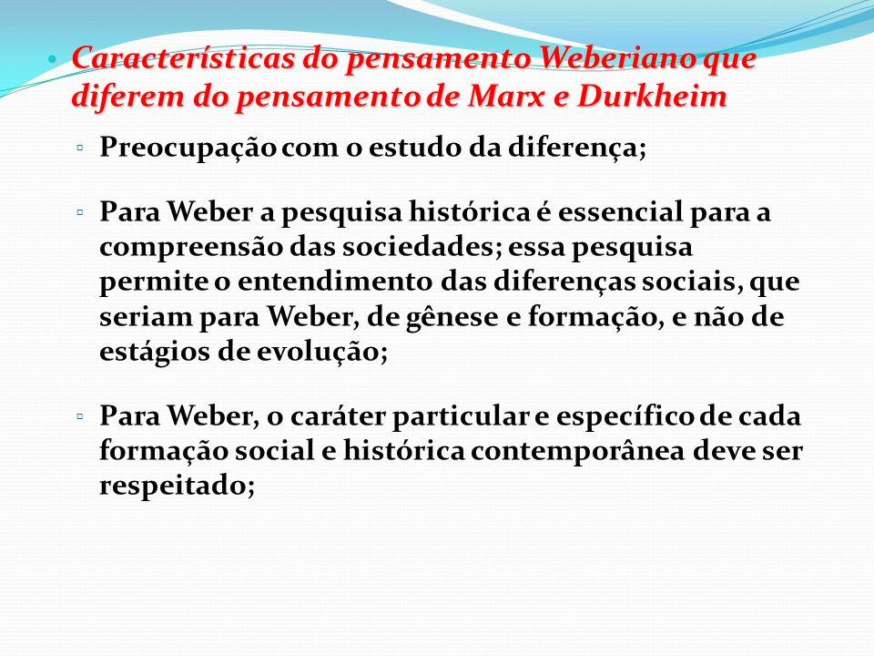 Características do pensamento Weberiano que diferem do pensamento de Marx e Durkheim
