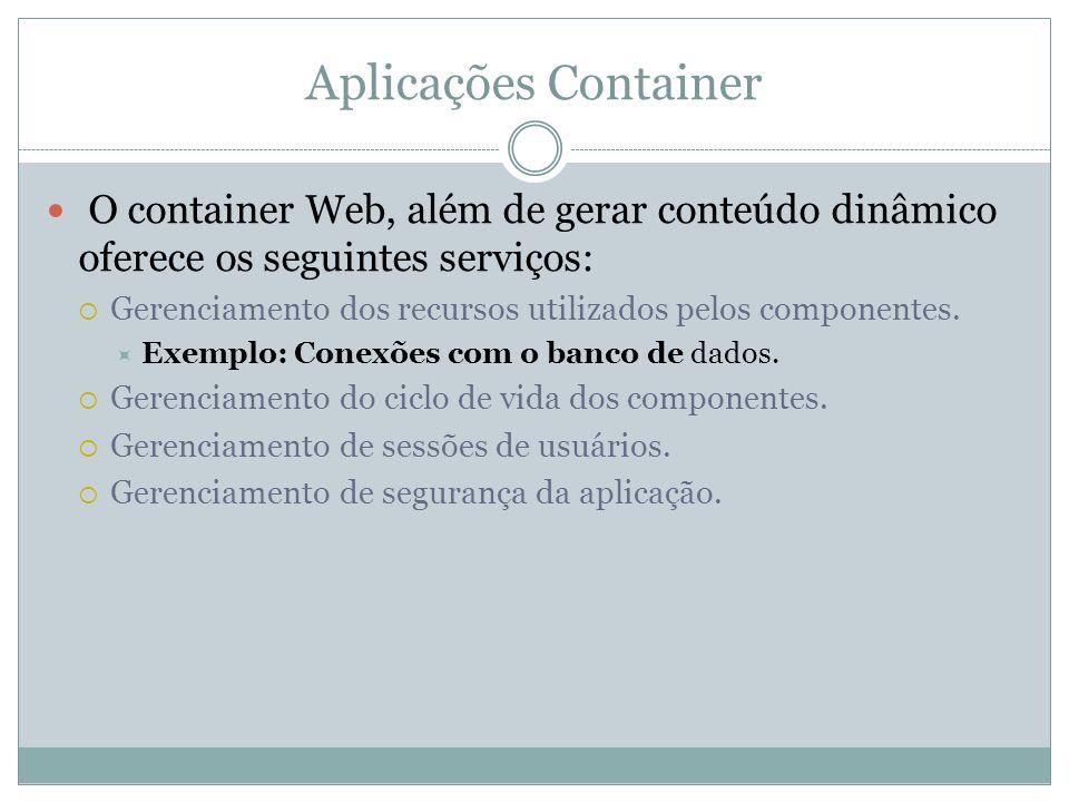 Aplicações Container O container Web, além de gerar conteúdo dinâmico oferece os seguintes serviços: