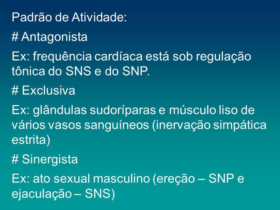 Padrão de Atividade:# Antagonista. Ex: frequência cardíaca está sob regulação tônica do SNS e do SNP.