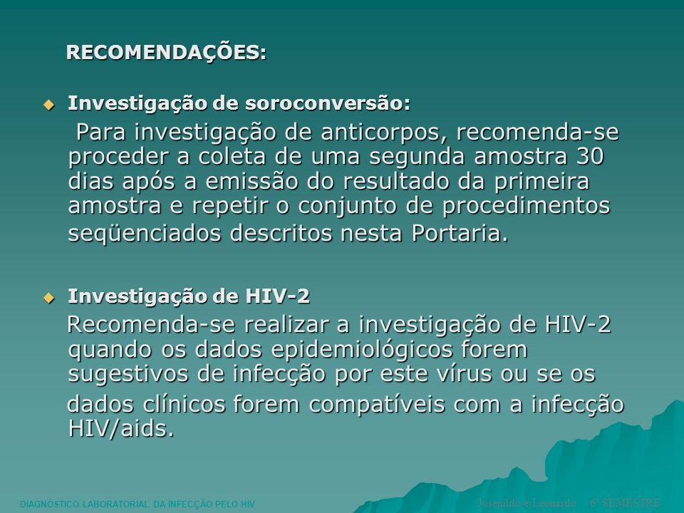 dados clínicos forem compatíveis com a infecção HIV/aids.