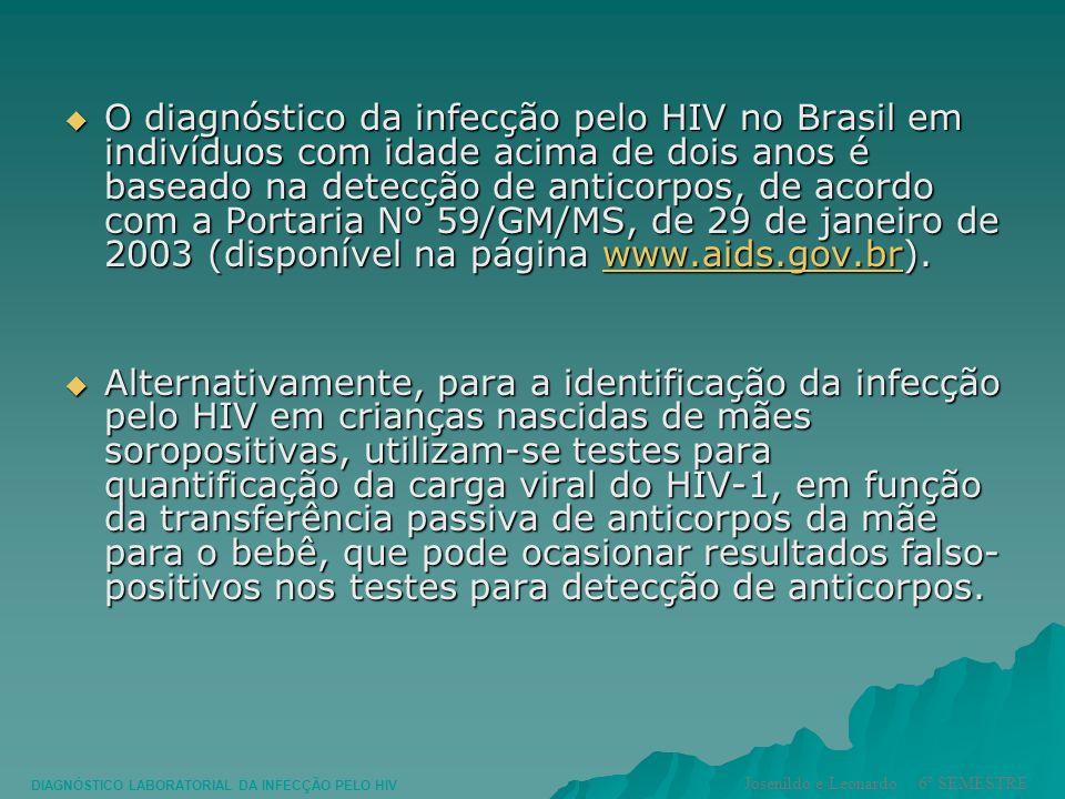 O diagnóstico da infecção pelo HIV no Brasil em indivíduos com idade acima de dois anos é baseado na detecção de anticorpos, de acordo com a Portaria Nº 59/GM/MS, de 29 de janeiro de 2003 (disponível na página www.aids.gov.br).