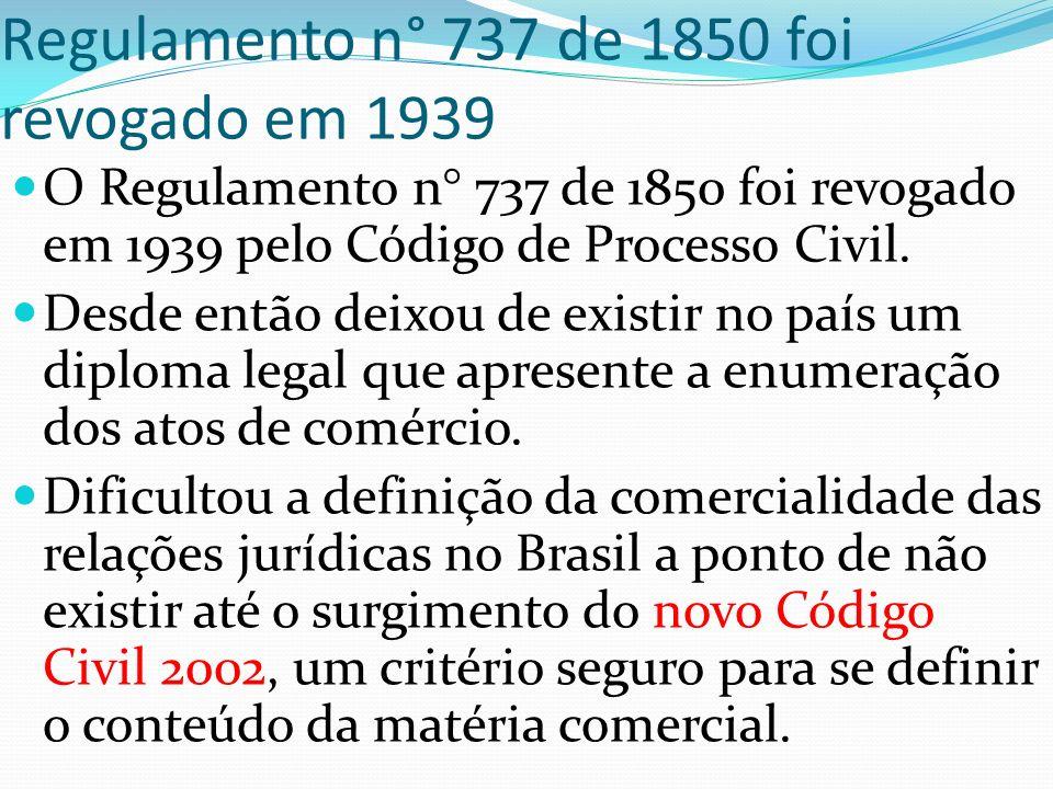 Regulamento n° 737 de 1850 foi revogado em 1939