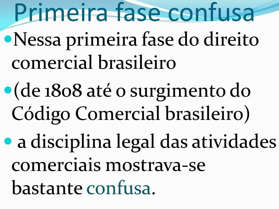 Primeira fase confusa Nessa primeira fase do direito comercial brasileiro. (de 1808 até o surgimento do Código Comercial brasileiro)