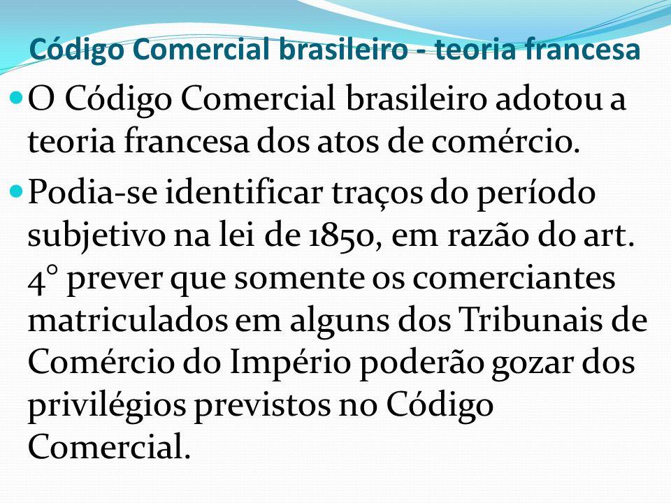 Código Comercial brasileiro - teoria francesa
