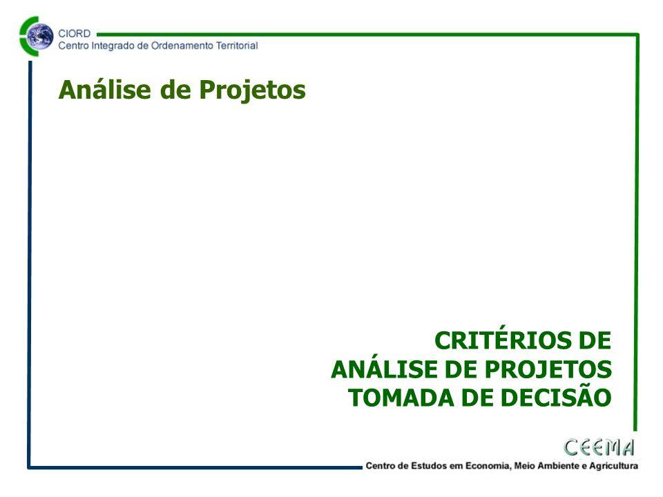 Análise de Projetos CRITÉRIOS DE ANÁLISE DE PROJETOS TOMADA DE DECISÃO
