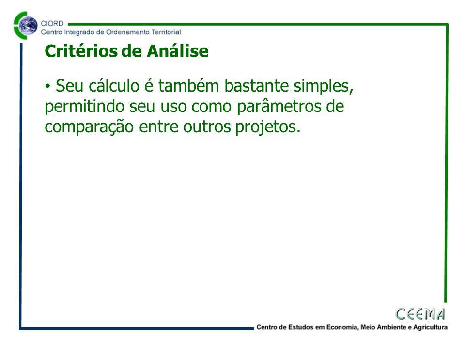 Critérios de Análise Seu cálculo é também bastante simples, permitindo seu uso como parâmetros de comparação entre outros projetos.
