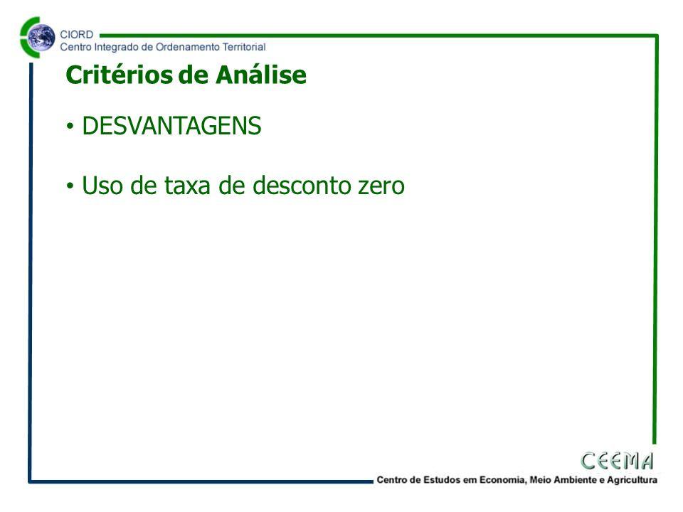 Critérios de Análise DESVANTAGENS Uso de taxa de desconto zero