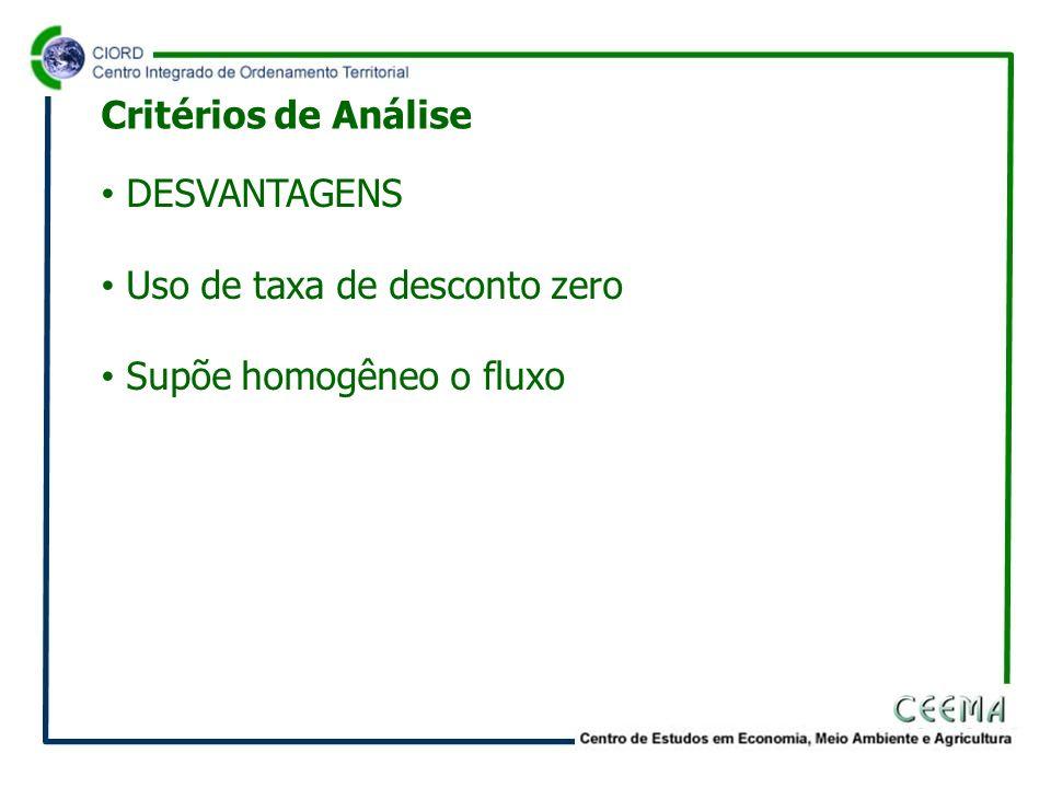 Critérios de Análise DESVANTAGENS Uso de taxa de desconto zero Supõe homogêneo o fluxo