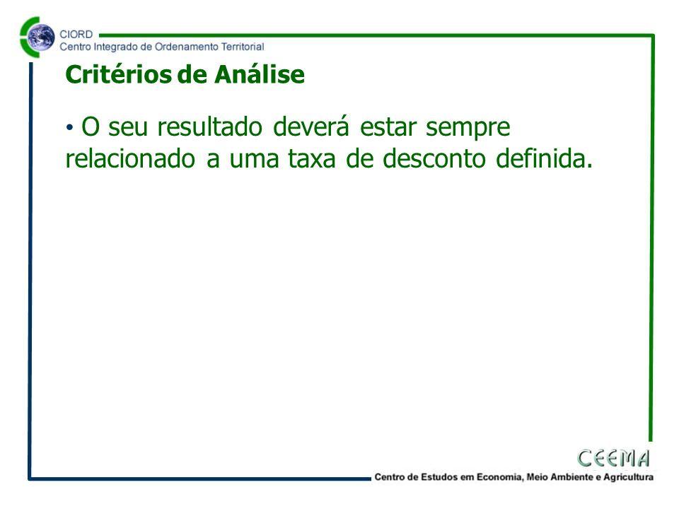 Critérios de Análise O seu resultado deverá estar sempre relacionado a uma taxa de desconto definida.