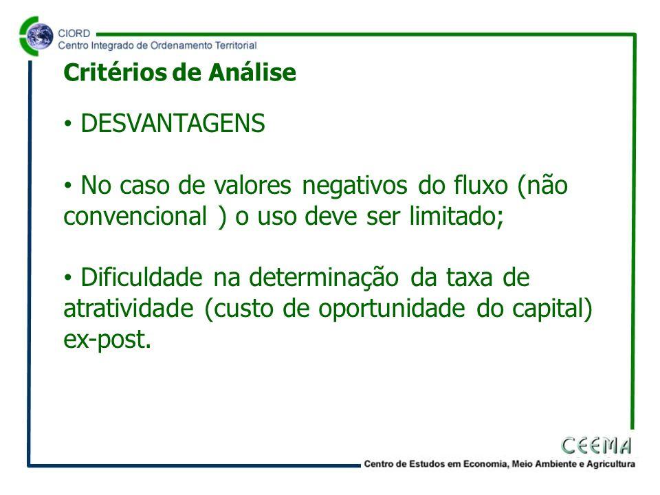 Critérios de Análise DESVANTAGENS. No caso de valores negativos do fluxo (não convencional ) o uso deve ser limitado;
