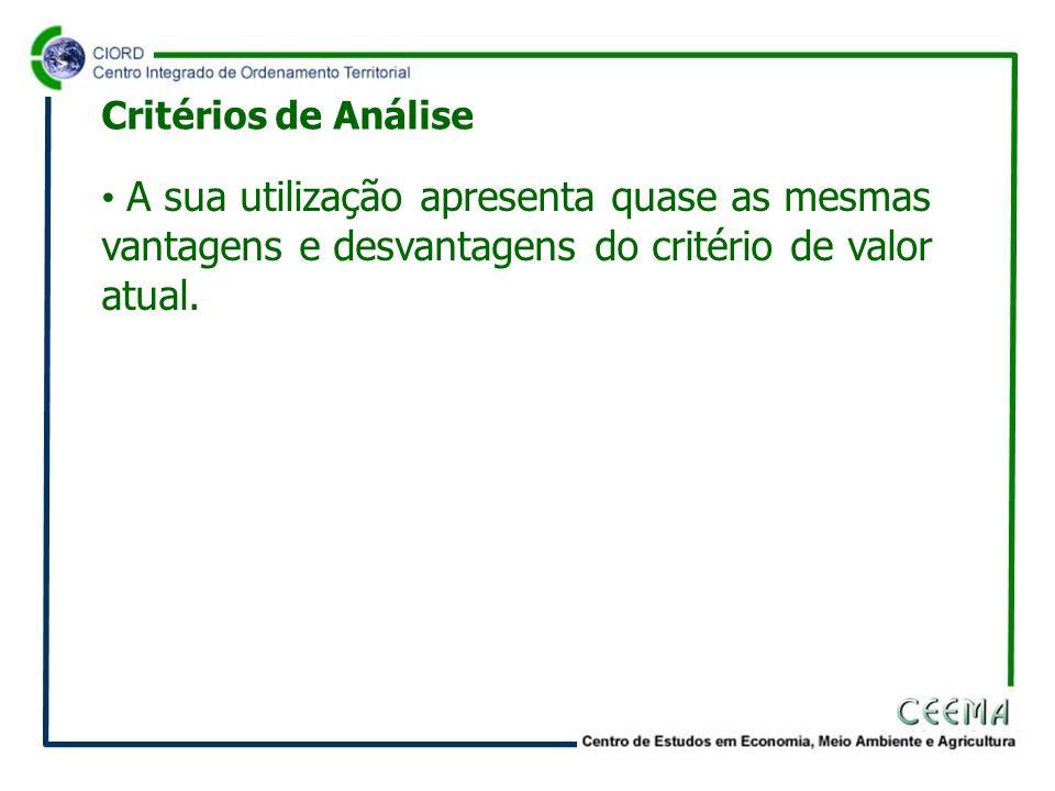 Critérios de Análise A sua utilização apresenta quase as mesmas vantagens e desvantagens do critério de valor atual.