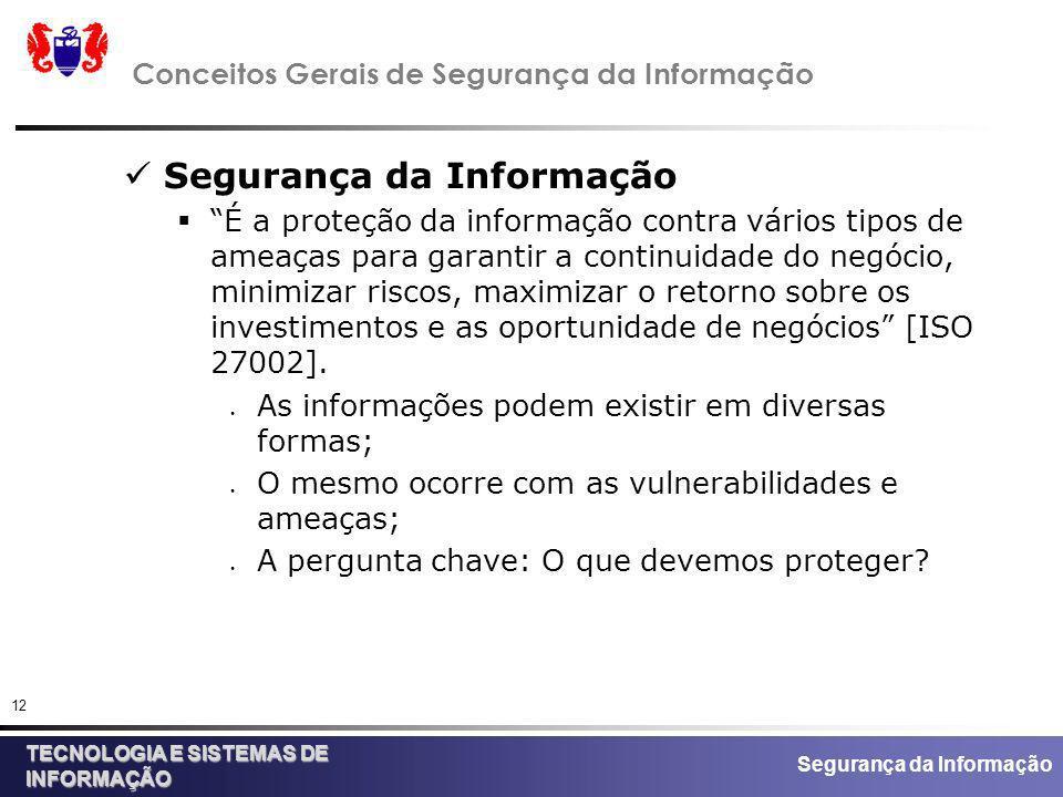 Conceitos Gerais de Segurança da Informação