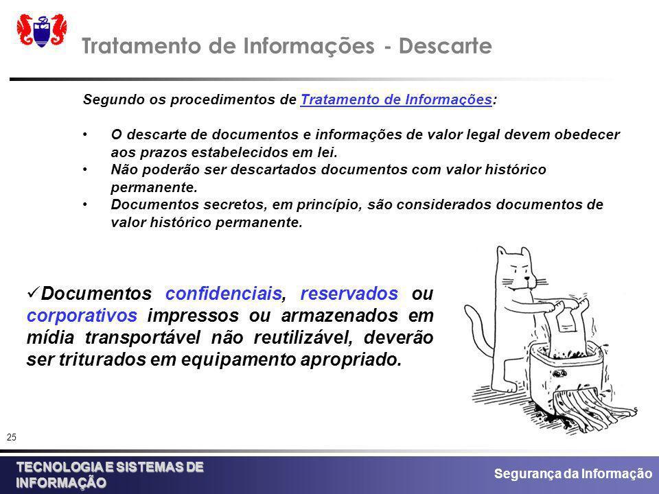 Tratamento de Informações - Descarte