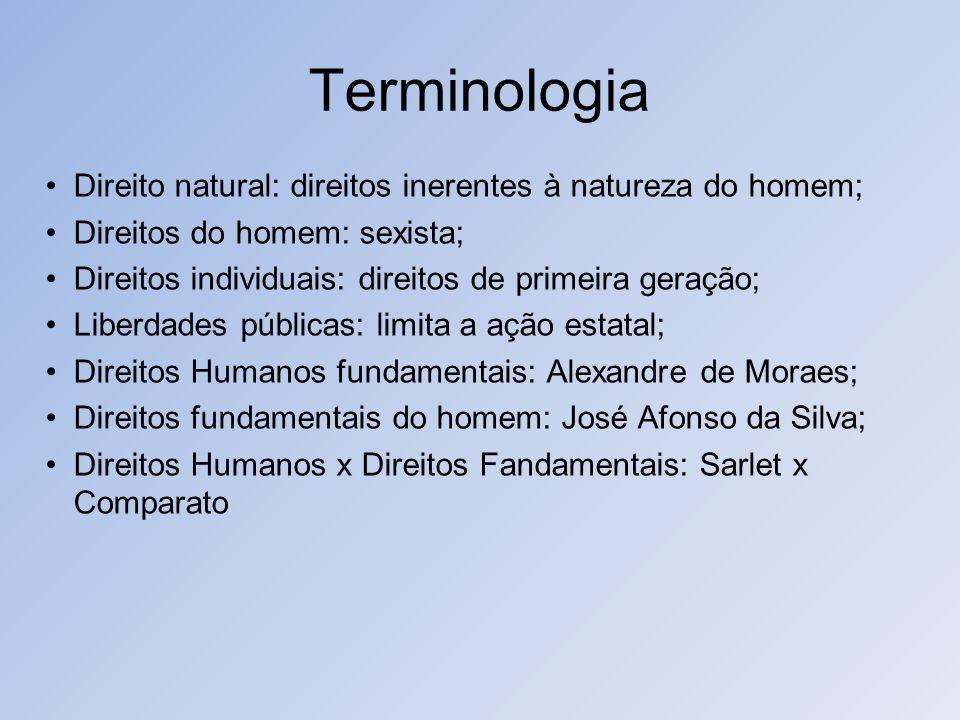Terminologia Direito natural: direitos inerentes à natureza do homem;