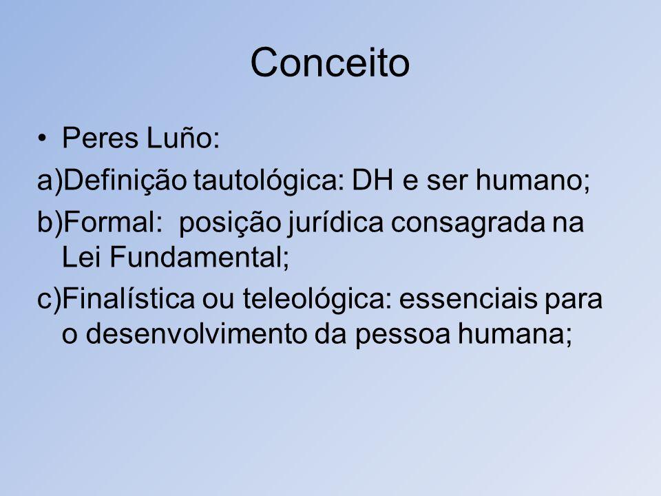 Conceito Peres Luño: Definição tautológica: DH e ser humano;