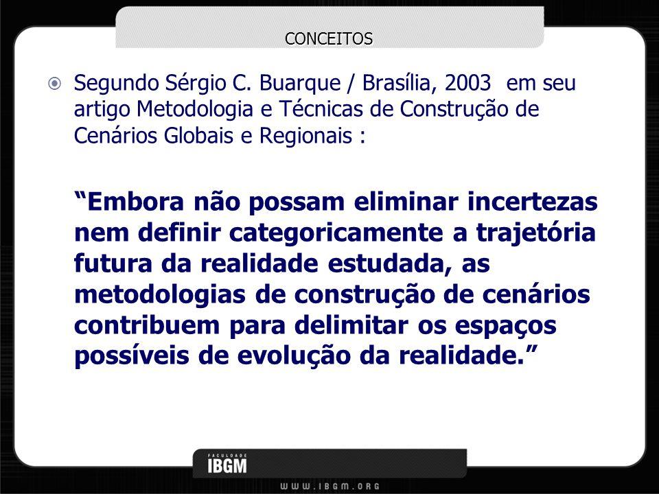 CONCEITOS Segundo Sérgio C. Buarque / Brasília, 2003 em seu artigo Metodologia e Técnicas de Construção de Cenários Globais e Regionais :