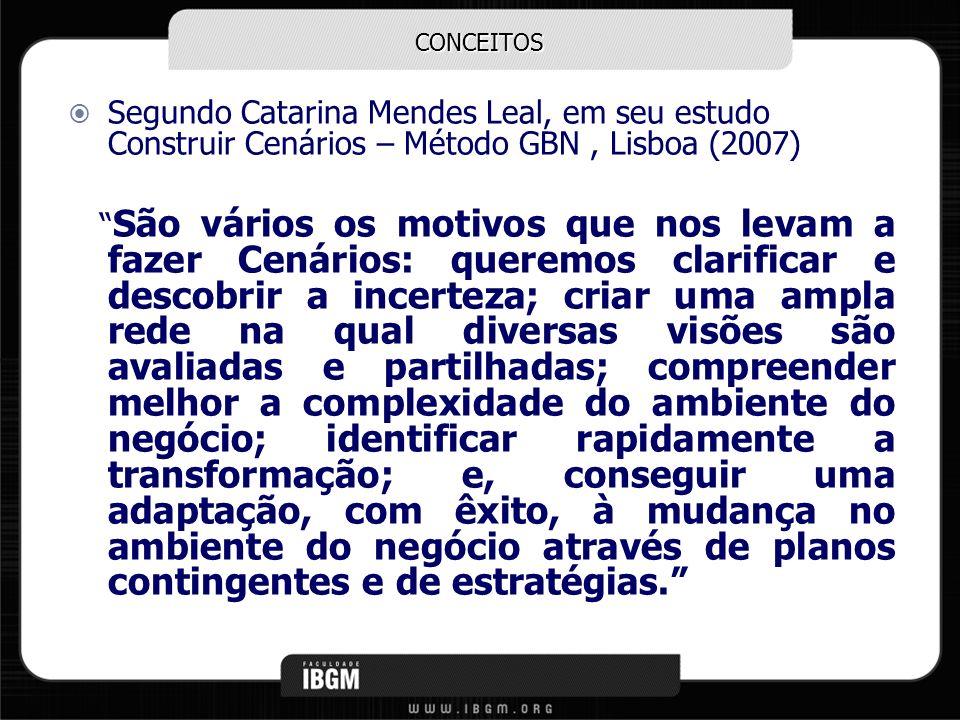 CONCEITOS Segundo Catarina Mendes Leal, em seu estudo Construir Cenários – Método GBN , Lisboa (2007)